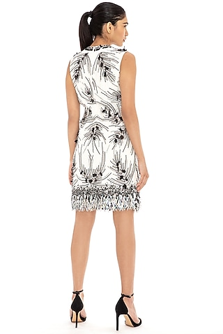Ivory Embroidered Shift Dress by Dilnaz Karbhary