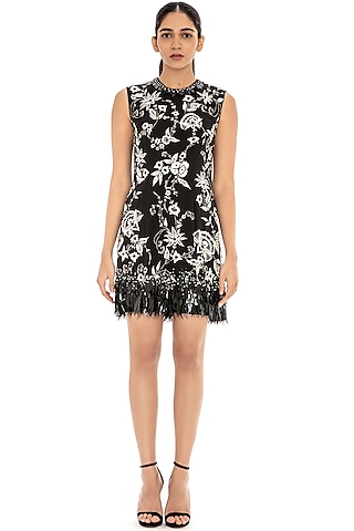 Black Embroidered Shift Dress by Dilnaz Karbhary