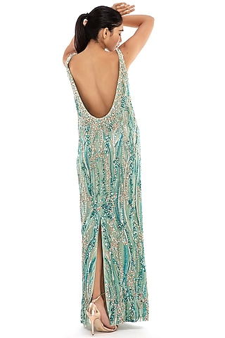 Aqua Blue Embroidered Gown by Dilnaz Karbhary