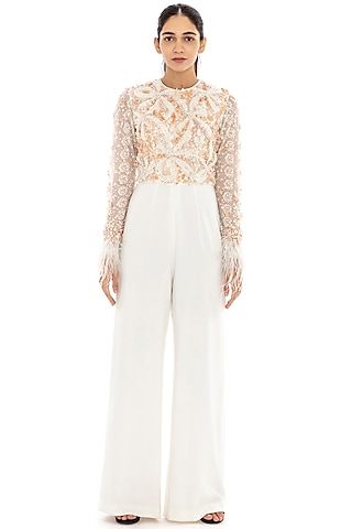 Ivory Embroidered Flared Jumpsuit by Dilnaz Karbhary
