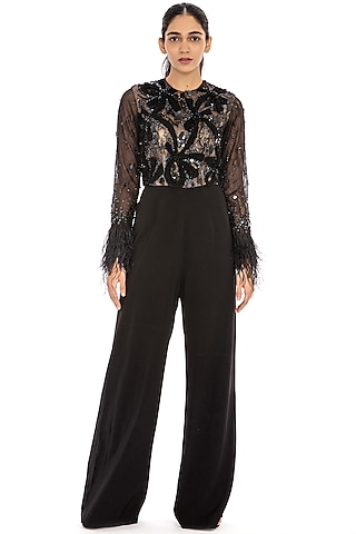 Black Embroidered Flared Jumpsuit by Dilnaz Karbhary
