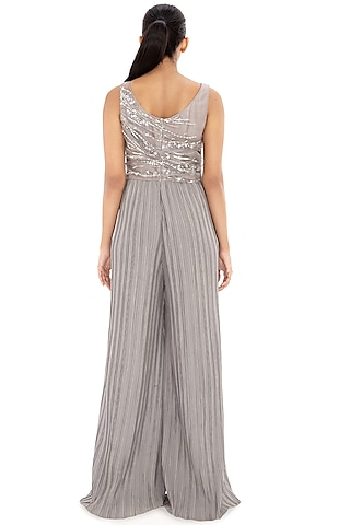 Dove Grey Embroidered Ruffled Jumpsuit by Dilnaz Karbhary