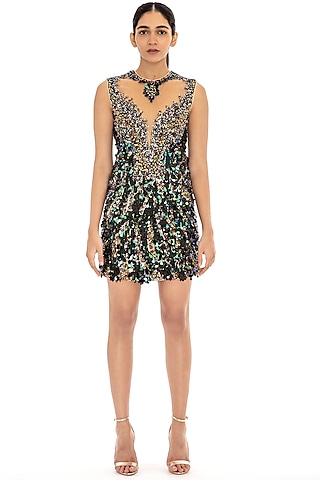 Black Sequins Embroidered Bodycon Dress by Dilnaz Karbhary