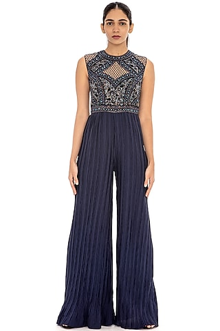 Navy Blue Embroidered Crinkled Jumpsuit by Dilnaz Karbhary
