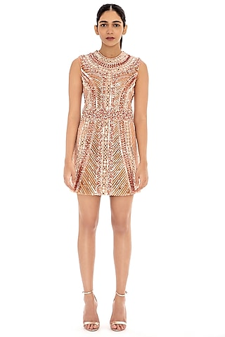 Metallic Old Rose Embroidered Bodycon Dress by Dilnaz Karbhary
