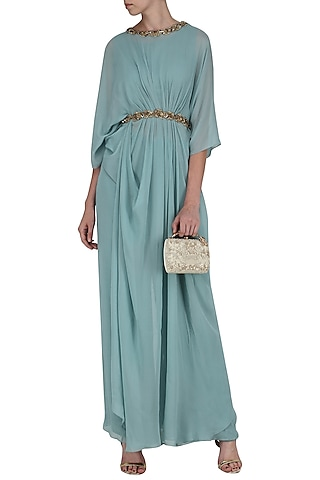 Ice Blue Embroidered Pleated Top with Flared Pants by Nitika Kanodia Gupta