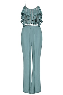 Blue Tassel and Ruffles Crop Top with Flap Pants by Dheeru and Nitika