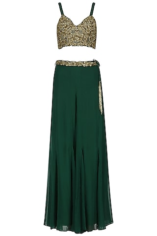 Bottle Green Embroidered Lehenga Skirt Set by Nitika Kanodia Gupta