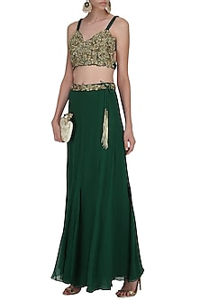 Bottle Green Embroidered Lehenga Skirt Set by Dheeru and Nitika
