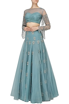 Ice Blue Embroidered Lehenga with Ruched Blouse by Dheeru and Nitika