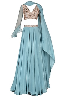 Ice Blue Embroidered Lehenga Set by Dheeru and Nitika