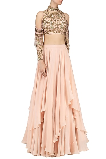 Rose Pink Embroidered Blouse with Layered Lehenga by Dheeru and Nitika