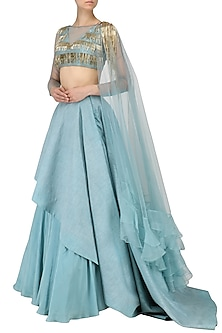 Ice Blue Tassel Embellished Lehenga Set by Dheeru and Nitika