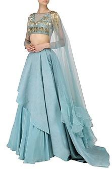 Ice Blue Tassel Embellished Lehenga Set by Dheeru and Nitika