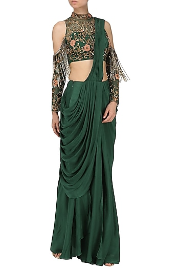 Bottle Green Drape Saree with Embroidered Blouse by Dheeru and Nitika