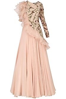 Rose Pink Embroidered Gown by Dheeru and Nitika