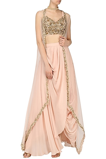 Rose Pink Drape Skirt with Embroidered Blouse and Cape by Dheeru and Nitika