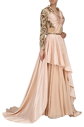 Rose Pink Embroidered Lehenga with Front Open Blouse Set by Dheeru and Nitika