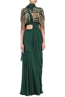 Bottle Green Drape Saree with Embroidered Cape by Dheeru and Nitika