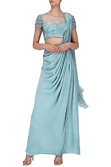 Ice Blue Drape Saree with Embroidered Blouse by Dheeru and Nitika