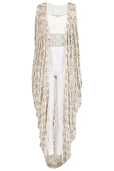 Ivory Embellished Cape, Trouser Pants and Strapy Bustier Set by Dheeru and Nitika