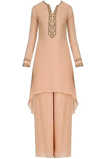 Peach Hand Embroidered Asymmetic Palazzo Suit Set by Dheeru and Nitika