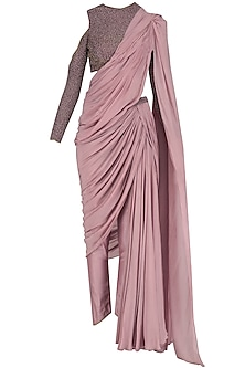 Lilac Blouse with Saree Inspired Drape Bottom Set by Dheeru and Nitika