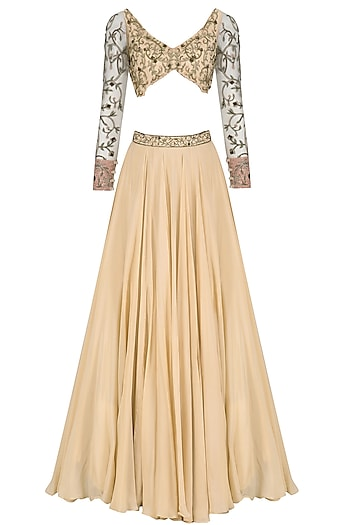 Golden Peach Floral Embroidred Lehenga Set by Dheeru and Nitika