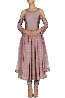 Lilac Hand Embroidred Chikankari Anarkali Suit by Dheeru and Nitika