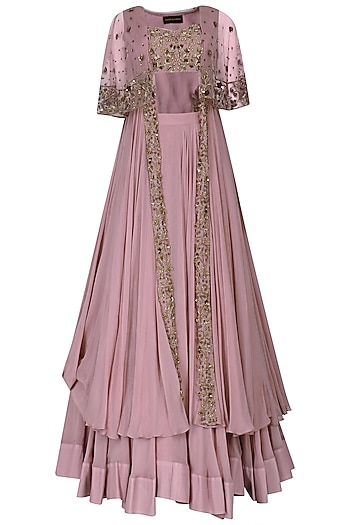 Lilac Floral Embroidred Lehenga and Long Cape Set by Nitika Kanodia Gupta