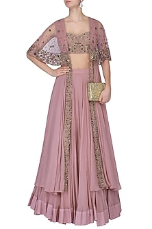 Lilac Floral Embroidred Lehenga and Long Cape Set by Dheeru and Nitika