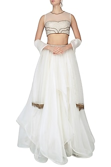 Ivory Organza Layer Lehenga and Embroidered Blouse Set by Dheeru and Nitika