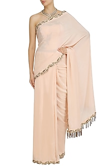 Peach Embroidered Saree and Corset Set by Dheeru and Nitika