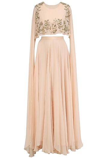 Peach Long Sleeves Cape and Lehenga Skirt Set by Dheeru and Nitika