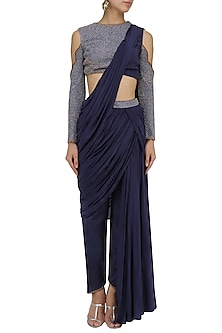 Midnight Blue Drape Saree with Blouse by Dheeru and Nitika