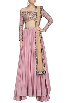 Lilac Floral Embroidered Lehenga Set by Dheeru and Nitika