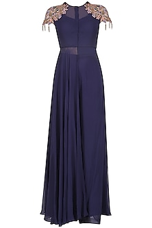 Midnight Blue Embroidered Tunic with Palazzo Set by Dheeru and Nitika