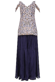 Midnight Blue Floral Embroidered Sharara Set by Dheeru and Nitika