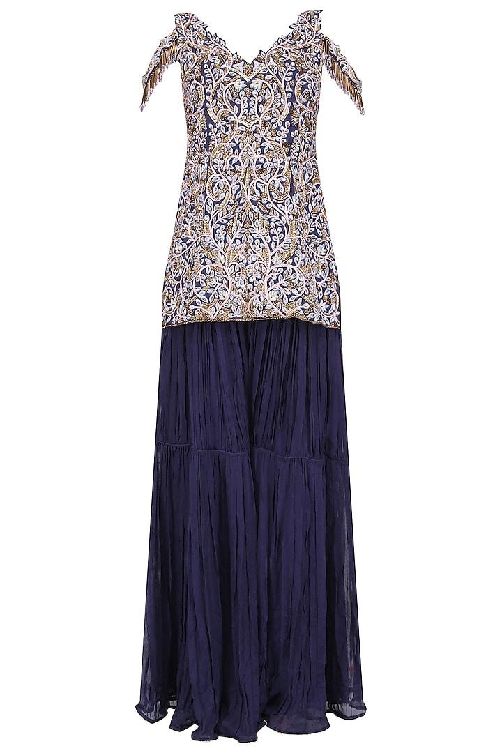 Midnight Blue Floral Embroidered Sharara Set by Nitika Kanodia Gupta