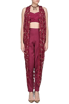 Red Wine Embroidered Cape with Trouser Pants And Bustier Set by Dheeru and Nitika