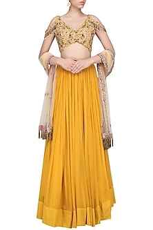 Mustard Floral Embroidered Lehenga Set by Dheeru and Nitika