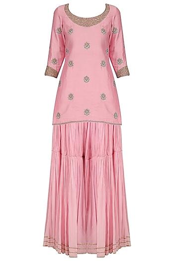 Pink Embroidered Short Kurta and Pleated Sharara Set by Dheeru and Nitika