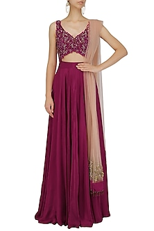Red Wine Resham Dabka Embroidered Anarkali Set by Dheeru and Nitika
