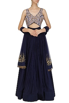Midnight Blue Resham and Dabka Embroidered Anarkali Set by Dheeru and Nitika