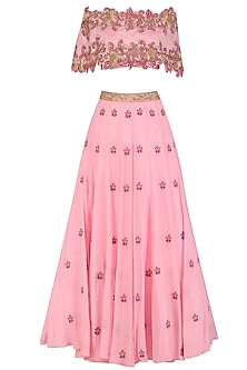 Pink Floral Embroidered Off Shoulder Lehenga Set with Cape by Dheeru and Nitika