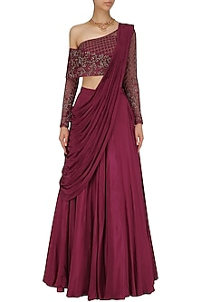 Red Wine Crepe Hand Embroidered Lehenga Set by Dheeru and Nitika