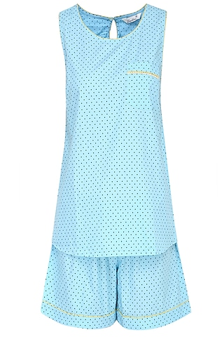 Blue Dots Printed Sleeveless Shirt and Shorts Set by Dandelion