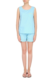 Blue Dots Printed Sleeveless Shirt and Shorts Set by Dandelion