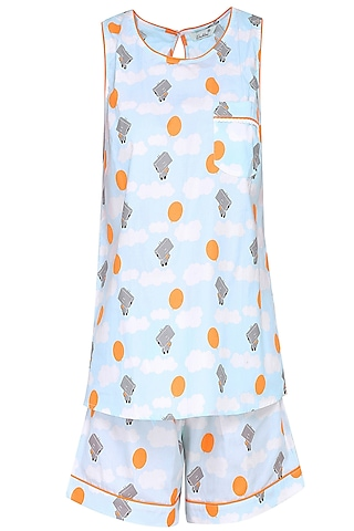 Blue and Grey Robot Printed Shirt and Shorts Set by Dandelion