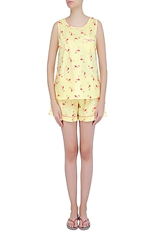 Yellow and Coral Flamingo Printed Shirt and Shorts Set by Dandelion